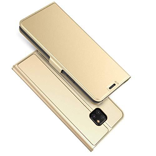 (Huawei Mate 20 Hülle, Huawei Mate 20 Pro Hülle Lederhülle Schutzhülle Flip Tasche Handyhülle Bookstyle Wallet Case mit Magnet Standfunktion Etui für Mate 20 Lite (Gold, Huawei Mate 20))