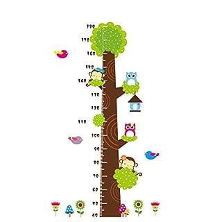 AWAKINK Messlatte mit Baum, süßer AFFE und Eulen, Vinyl-Aufkleber, abnehmbar, Super für Kinderzimmer, Spielzimmer, Mädchen und Jungen Kinderzimmer
