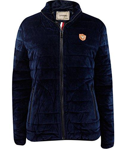 Girls Soft Velvet Padded Coat Collar Winter Lined Women's Zip Up Jacket Navy