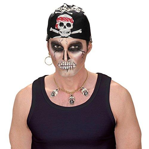 Amakando Piraten Kopftuch - 55 x 55 cm - Seeräuber Halstuch Pirat Biker Haube Tuch Männer Herrenkopftuch Rocker Kostüm Accessoire Easy Rider Totenkopf Skull Bandana