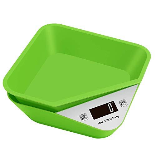 Digitale Küchenwaage Mini Multifunktionale Lebensmittelwaage Abnehmbare Schüssel LCD Bildschirm Maximal 5 kg Hundenapf Grün -