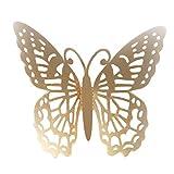 Yazidan 12 STÜCKE Schmetterling Spiegel Dekoration Home Room Art 3D DIY Wandaufkleber Startseite Simulationsschmetterling Dekoration 3D Schmetterling Openwork Wandaufkleber