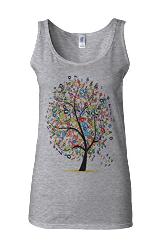 Lucky Number Tree Lottery Novelty White Femme Women Tricot de Corps Tank Top Vest Gris Sportif