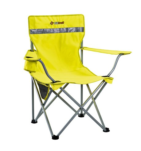 Tradie Hi Viz Sessel reflektierend Gelb Campingstuhl mit Armlehne, maximale Belastung 110kg, 79x56x91cm, 2.8kg Faltstuhl Klappstuhl mit Getränkehalter und Flaschenöffner in Armlehnen integriert, ideal für Baustelle, Aufbau, Sichtbarkeit