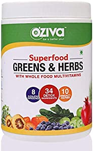 OZiva Superfood Greens & Herbs (Supergreens powder with Chlorella, Spirulina & 34 Detox Ingredien