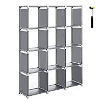 SONGMICS Cube Storage, 12-Cube Bookcase, DIY Closet Organiser, Storage Shelf in Living Room, Children
