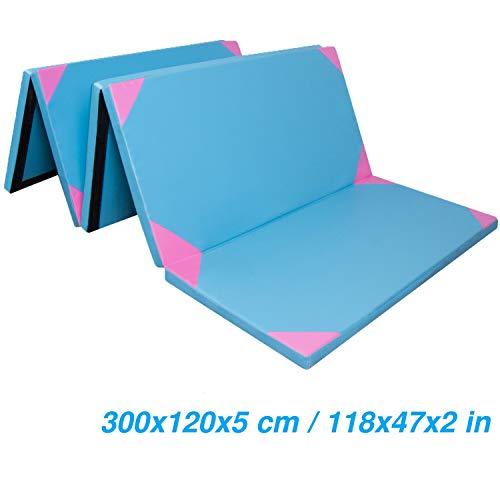 CCLIFE 300x120x5cm Weichbodenmatte Turnmatte Klappbar Gymnastikmatte Farbeauswahl, Farbe:Blau&rosa, 4-Fach faltbar
