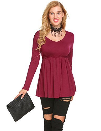 Damen Shirtkleid Mini Kleid Langarm Rundhals Stretch Casual Kleider Weinrot