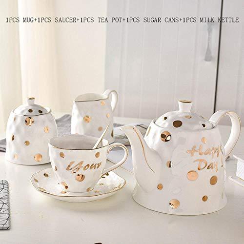 COPP Kurze Kreative Gold Dot Weiß Keramik Porzellan Frühstück Haferflocken Becher Kaffeetasse Untertasse Teekanne Zucker Dosen Milchkessel Kit Geschenke, A -