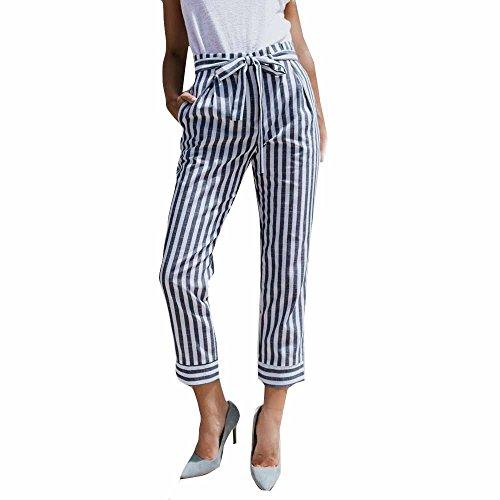 Topgrowth Pantaloni Donna Eleganti Casual Pantalone a Righe A Vita Alta Pantaloni Larghi Ufficio Estiva Club Slim Fit Pantaloni Cropped (Blu, S)