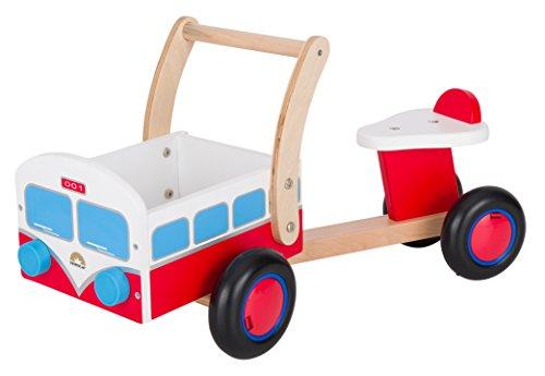 *BIKESTAR® Kinder Rutscher Lauflernfahrzeug mit Spielzeug Ladefläche für kleine Zwerge ab 18 Monaten ★ Natur Holz Edition ★ Flinke Feuerwehr*