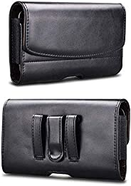 PUDINI® Leather Holster Pouch Cover Card Wallet Belt Clip Cases Waist Bag Pack for [ Universal -Up to 6.5 Inch