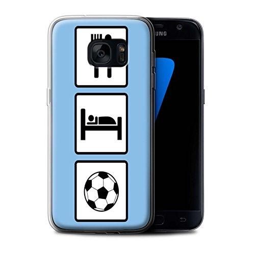 Custodia/Cover/Caso/Cassa Gel/TPU/Prottetiva STUFF4 stampata con il disegno Mangiare/Sonno per Samsung Galaxy S7 G930 - Calcio/Blu