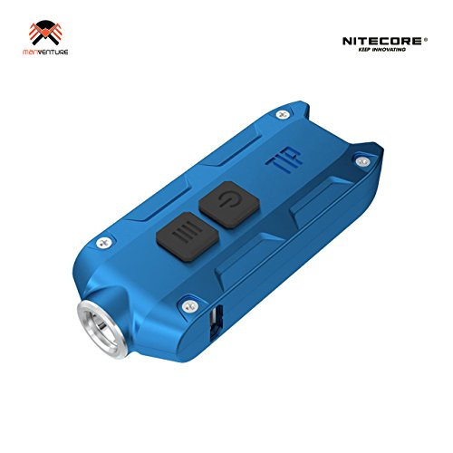 Nitecore® TIP 2017 USB Wiederaufladbar Taschenlampe 360 Lumens LED Super Hell EDC Schlüsselbund Leicht 23.5 Gramm Mini-Taschenlampe Integerierte LI-Ion Akku hohe Kapazität, Lange Laufzeit bis zu 46 Stunden, CREE XP-G2 G3 LED Schlüsselring, Leuchtweite 74 m, Wasserdicht IP54, Aluminiumgehäuse Hartanodisiert (Blau)