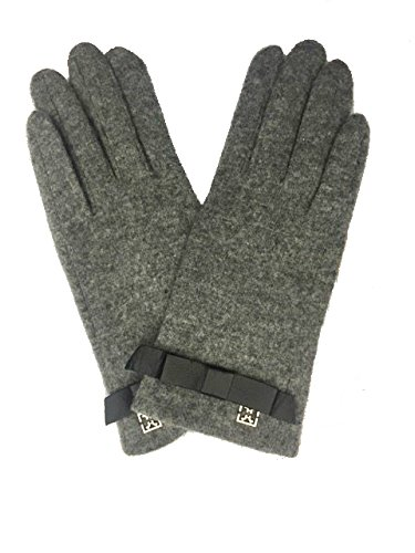 Guanto in lana e dettaglio in pelle sul polso COCCINELLE (S, grigio)