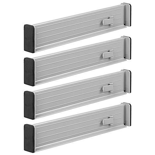 mDesign 4er-Set Schubladen-Organizer - dank verstellbarer Trennelemente Schublade organisieren - Schubladeneinsatz für Küche, Bad oder Schlafzimmer - hellgrau (Küchen Organizer Schubladen)