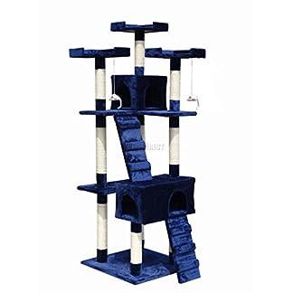 FoxHunter Deluxe Multi Level Cat Scratcher Cat Tree Activity Centre Scratching Post Climbing Sisal Toys 608 Blue Faux Fur 55cm x 55cm x 180cm Height 412X0YOhTdL