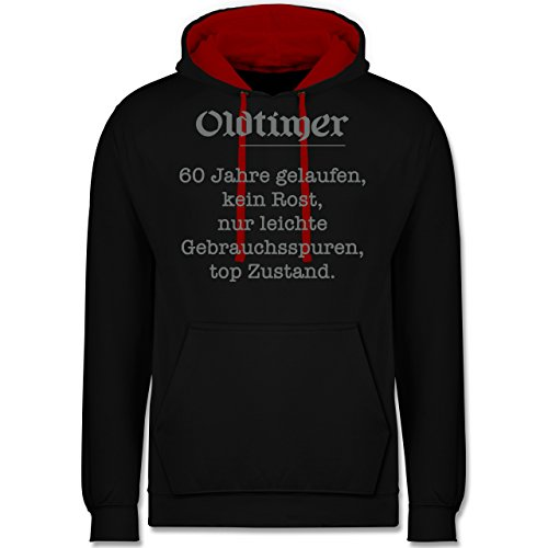 Shirtracer Geburtstag - 60. Geburtstag Oldtimer Fun Geschenk - XXL - Schwarz/Rot - JH003 - Kontrast Hoodie