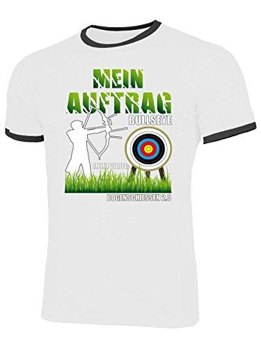 Golebros Mein Auftrag Bullseye Meine Waffe Bogenschiessen 2.0 1048 Herren Ringer T-Shirt (HR=Weiss/Schwarz) Gr. S