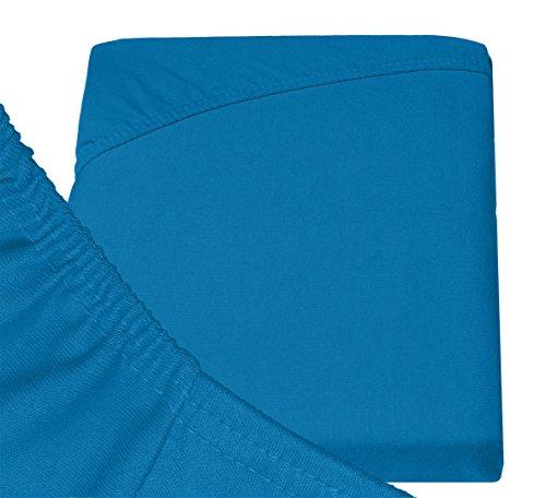 Double Jersey - Spannbettlaken 100% Baumwolle Jersey-Stretch bettlaken, Ultra Weich und Bügelfrei mit bis zu 30cm Stehghöhe, 160x200x30 Petrol - 6