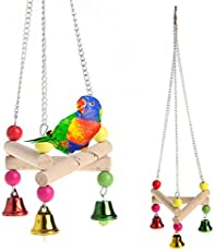 KSK Parrot Parakeet Budgie Cockatiel Wood Hammock Stand Swing Hanging Pet Bird Toys(Small)