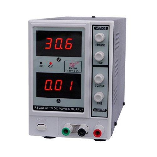 KKmoon 0-30V 0-5A DC Power Supply, 3-stellig Variable Einstellbar Digital Reguliert , Gleichstrom Liefern EM1705 EU Stecker