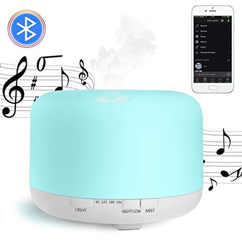 800ML Diffusore per aromaterapia musicale,Diffusore di Oli Essenziali,Umidificatore Ultrasuoni Altoparlanti Bluetooth 7 colori Luce notturna Purificatore aria Silenzioso Auto spegnimento Senza Acqu