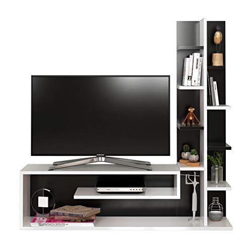 GLORY Ensembles de meubles de salon - Blanc (Brillant) / Noir ( Brillant) - Meuble TV avec étagères en moderne design
