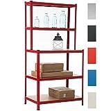 CLP Schwerlastregal aus Metall mit Einer Tragkraft von 875 kg I Robustes Lagerregal mit 4 Holzablagen I In Verschiedenen Farben erhältlich Rot