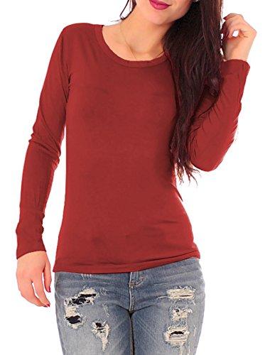 Easy Young Fashion Damen Basic Langarm Shirt Rundhals Dunkelrot