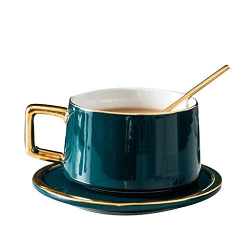 Tayaho Keramik-Kaffeetasse, Kaffeetasse und Untertasse, einfache Teetasse mit Löffel, Golden Garden Teller