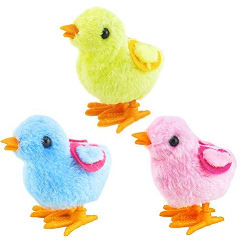 BESTOYARD 3 stücke Ostern Wind up Spielzeug Springen Huhn Plüsch Küken Spielzeug Party Favors Spielzeug für Kinder (Zufällige Farbe)