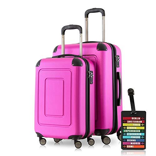 "Happy Trolley Koffer-Set Hartschalen-Koffer Lugano, 20\""+24\"" Zoll, 40L+78L +1xKofferanhänger, Pink"