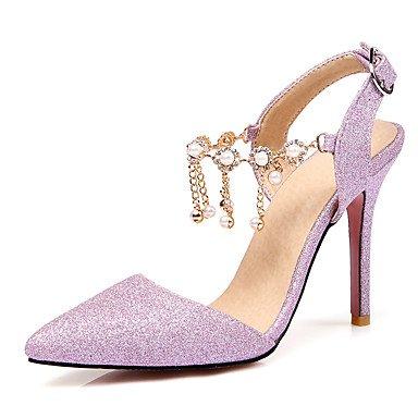 LvYuan Da donna-Sandali-Matrimonio Formale Serata e festa-Club Shoes-A stiletto-Materiali personalizzati-Viola Argento Tessuto almond almond