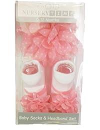 Baby Girls Gift Box Baby Socks & Headband set - PINK POLKADOT FLOWER - Suitable From Newborn