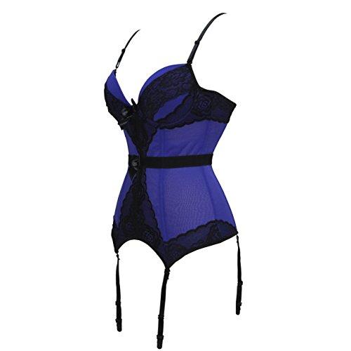 Camicette e corsetto bustier elastico overbust da donna Camicette da spalla Cintura sexy con cinturino Blue