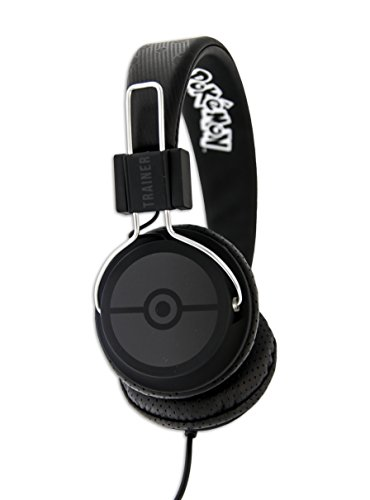 OTL Technologies TWEEN Kinder Kopfhörer Pokemon Trainer (faltbar, gepolsterte Bügel, buntes Comic Design, für Jungen und Mädchen) Schwarz/Schwarz