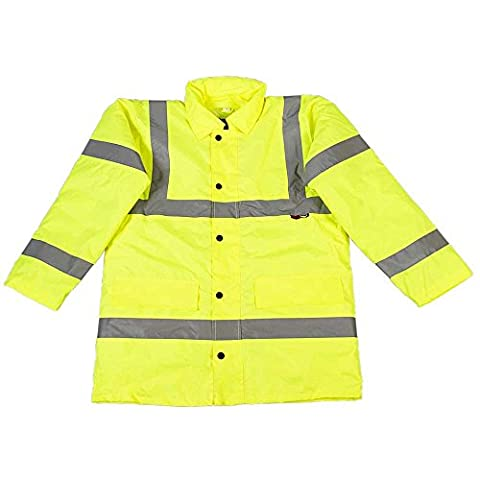 High Visibility Viz Yellow Mens Safety Workwear Road Traffic Coat Jacket