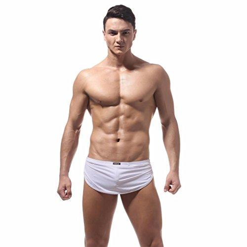TUDUZ Herren Low-Rise Boxershorts Boxer Briefs Trunks Unterwäsche Shorts Bulge Pouch Unterhosen (Farbe wählbar) (Weiß, M(Taille:66-73cm)) (Farbe Spandex Weiße)