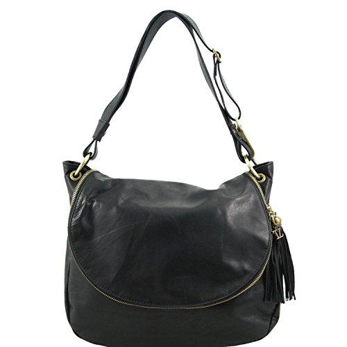Tuscany Leather TL Bag Sac bandoulière besace en cuir souple avec pompon