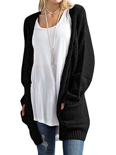 DYLH Cardigan Donna Lungo Maglione Maglia Sweater Cappotto Anteriore Aperto con Tasca Maglioni Autunno Inverno Nero