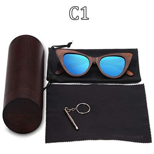 DAIYSNAFDN Holz Sonnenbrille Frauen Bambus Rahmen Brillen Polarisierte Gläser Brille Vintage Design Shades C1