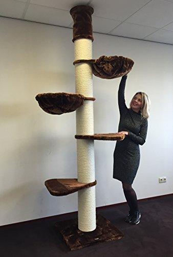 RHRQuality Kratzbaum Grosse Katzen stabil XXL Maine Coon Tower Braun deckenhoch Deckenhöhe 245-265cm Katzenkratzbaum für schwere Katze hoch