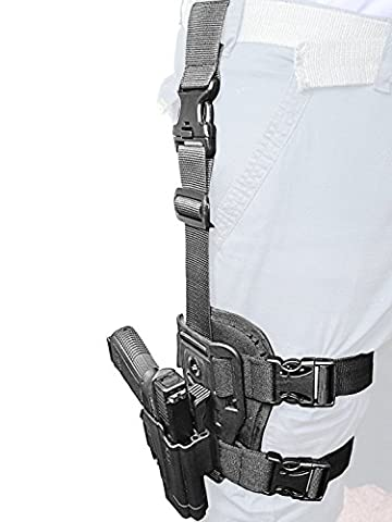 ORPAZ Defense Dropleg Thigh rig platform + Active retention ROTO rotation tactical paddle Holster with tention ajustment for All 1911 with / without Picatinny Rail - Colt, Sig, Kimber, S&W, Taurus, Ruger and more