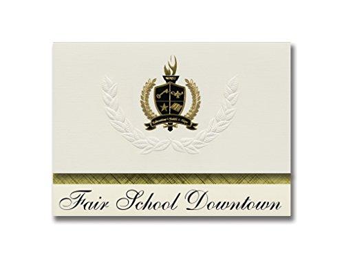 Signature Announcements Fair School Downtown (Minneapolis, MN) Abschlussankündigungen, Präsidential-Stil, Grundpaket mit 25 goldfarbenen und schwarzen metallischen Folienversiegelungen