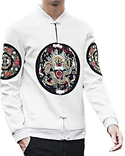 TaiFE Herren Freizeit Tang Anzüge Mäntel Traditionellen Chinesischen Kostüm Drachen Stickerei Jacke Weiß 3XL -