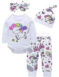 Bebé Mono, ASHOP Recién Nacido Bebé Baratas Mono Niña Unicornio Impresión Romper Manga Larga Bodies Ropa Casual Jumpsuit + Pantalones + Cap + Venda 0-18 Meses