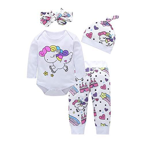 Bebé Mono, ASHOP Recién Nacido Bebé Baratas Mono Niña Unicornio Impresión Romper Manga Larga Bodies Ropa Casual Jumpsuit + Pantalones + Cap + Venda 0-18 Meses (70 (0-3meses), Blanco)