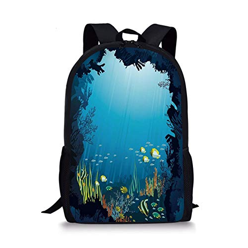 School Bags Ocean,Topical Underwater Cave Fishes Swimming Marine Coral Reefs Exotic Aquatic Beauty Image,Dark Blue for Boys&Girls Mens Sport Daypack -