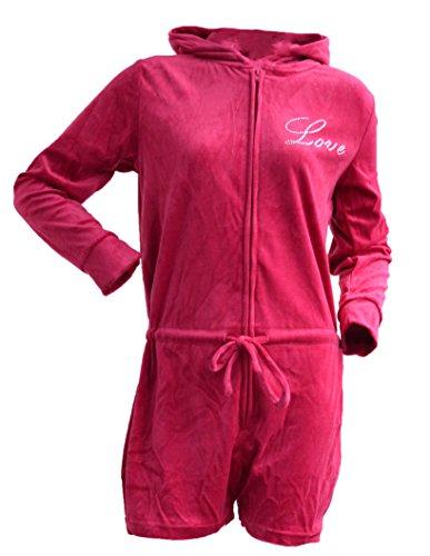 Octave - Damen Schlafanzug-Overall/Onesie mit kurzer Hose & Kapuze - Rosa Rosa